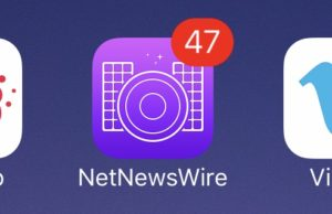 Net News Wire app icon on the home screen, with a badge