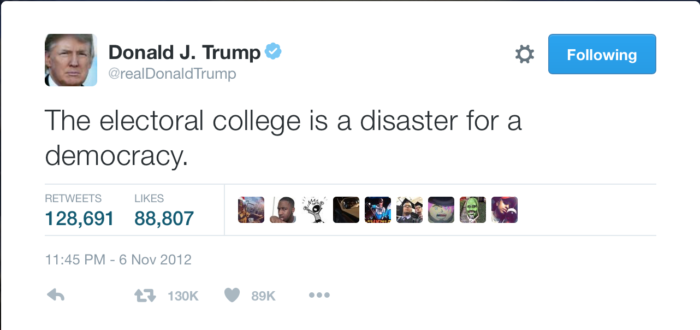 """The electoral college is a disaster for a democracy."""